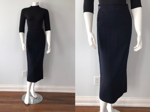 Vintage Ralph Lauren Navy Blue Wool Pencil Skirt,