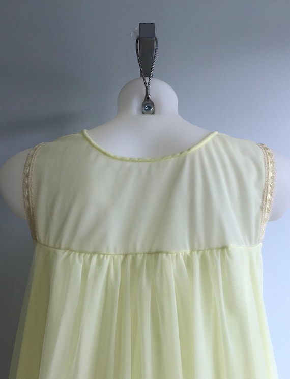 Vintage Yellow Chiffon Nightgown, 1960s Nightgown… - image 7