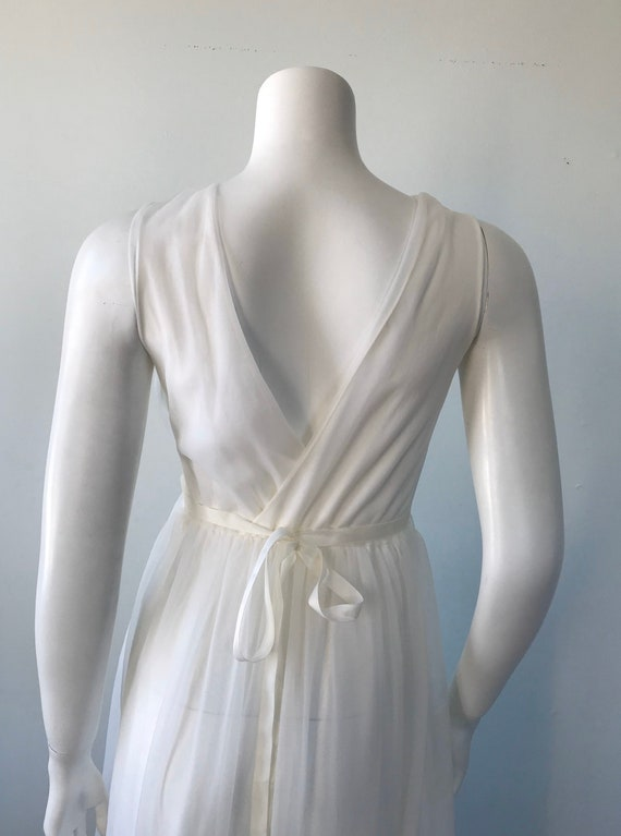 Vintage Ivory Chiffon Nightgown, 1960s Chiffon Ni… - image 7