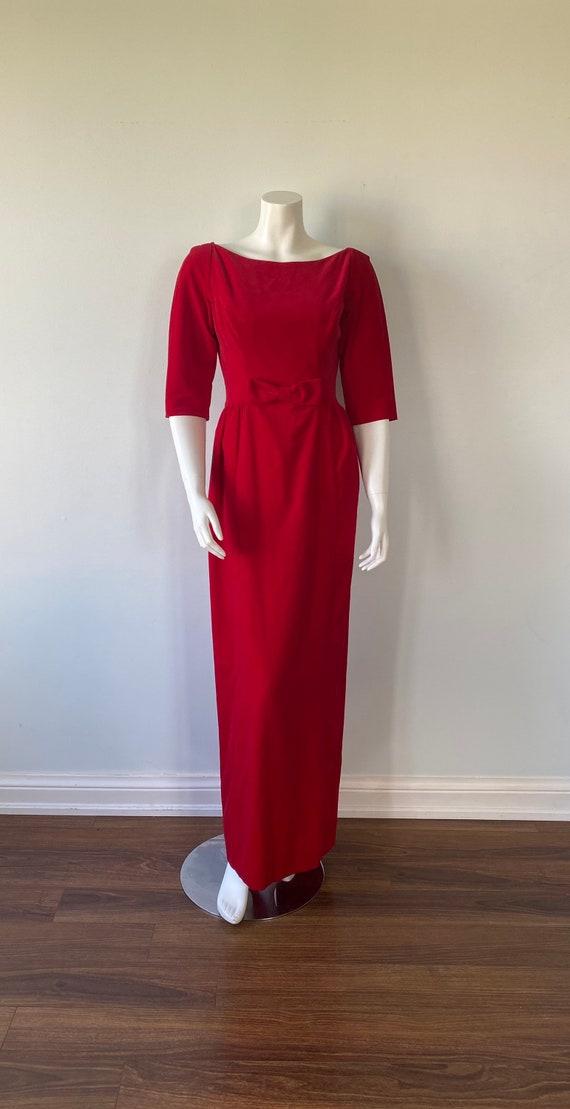 1950s Red Velvet Evening Gown, Lorrie Deb SAN Fra… - image 2