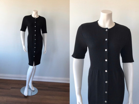 Vintage Black Knit Dress, Trio New York, Black Kni
