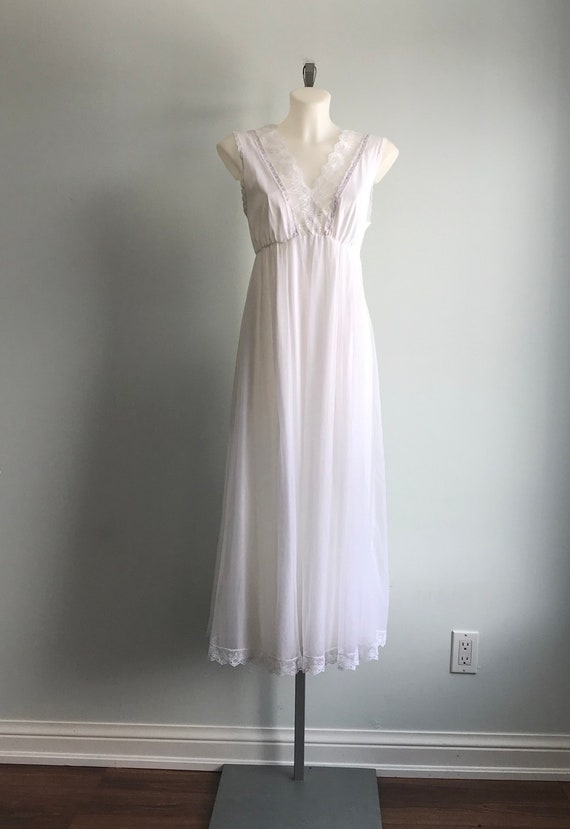 White Chiffon Nightgown, 1960s Nightgown, Tosca, … - image 6
