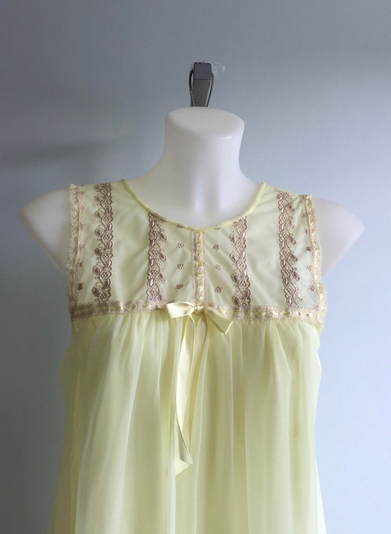 Vintage Yellow Chiffon Nightgown, 1960s Nightgown… - image 4