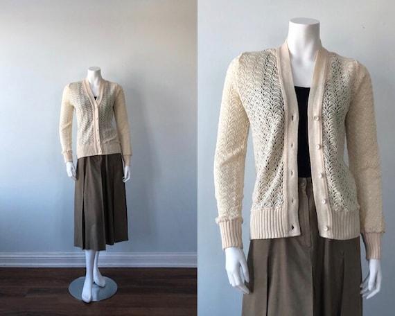 Vintage Cream Knit Ladies Cardigan, Bright Acrylic