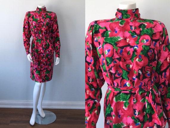 Vintage Dress, Vintage Silk Dress, 1980s Desss, 19