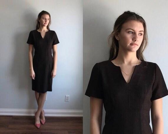 Vintage 1960s Wool Dress, Brown Wool Dress, Brown