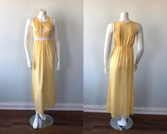 Vintage Yellow Nightgown, 1970s Nightgown, Sun Shi