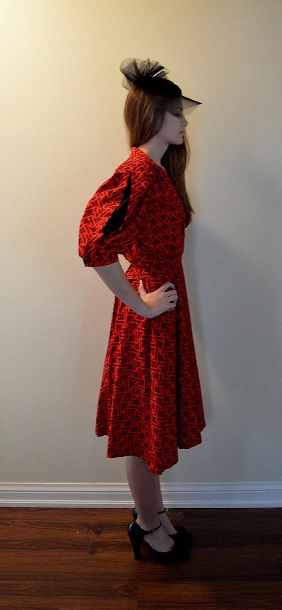 Vintage Red And Black Cotton Dress Bee Darlin Made In Etsy