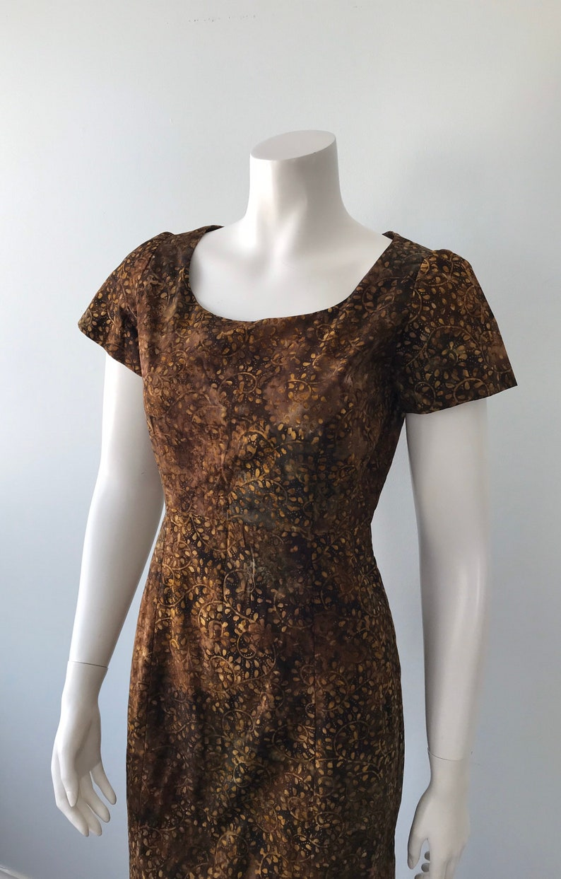 1960s Dress Casual Dress Vintage Cotton Dress Browns Cotton Dress Vintage Dress Summer Dress Short Sleeve Dress