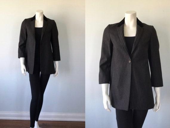 Vintage Gray/Black Striped Jacket, Ladies Jacket,