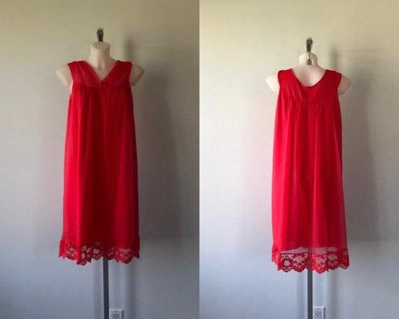 Vintage Red Chiffon Nightgown, Red Chiffon Nightgo