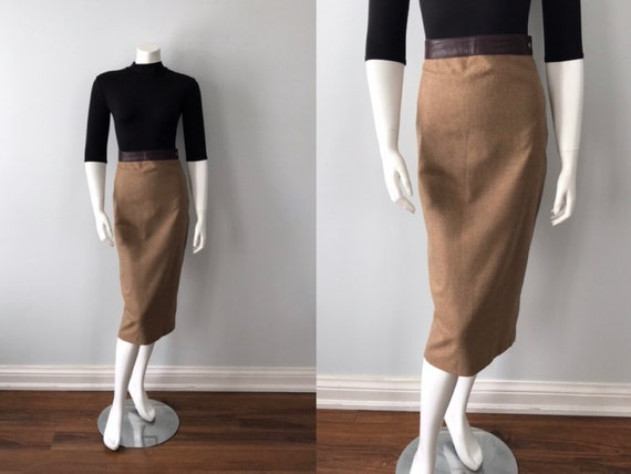 Vintage Beige Pencil Skirt, Dolce & Gabbana Skirt,