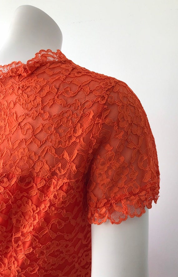 Vintage Orange Lace Dress, 1960s Lace Dress, Vint… - image 6
