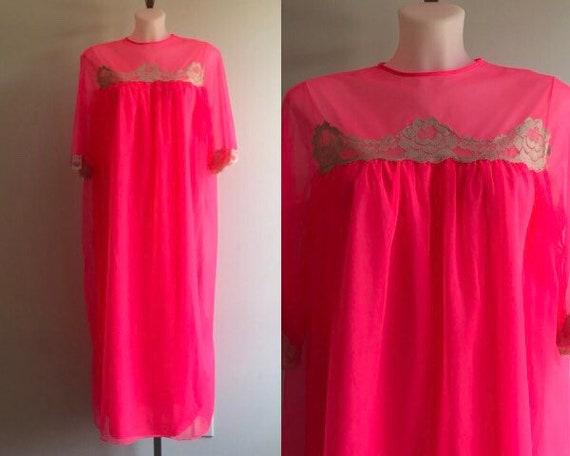 Vintage Pink Chiffon Nightgown, Chiffon Nightgown,