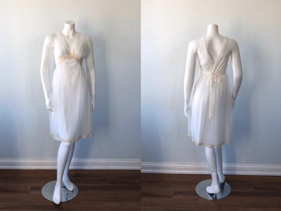 Vintage Ivory Chiffon Nightgown, 1960s Chiffon Nig