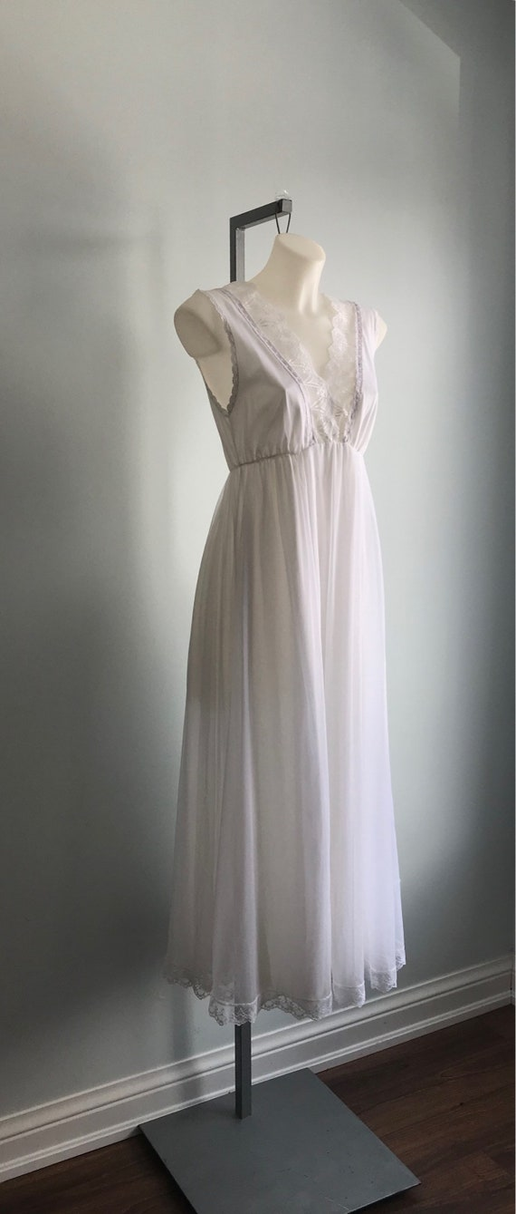 White Chiffon Nightgown, 1960s Nightgown, Tosca, … - image 4