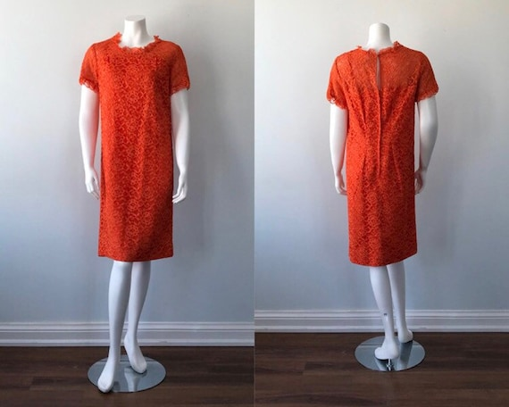Vintage Orange Lace Dress, 1960s Lace Dress, Vint… - image 1