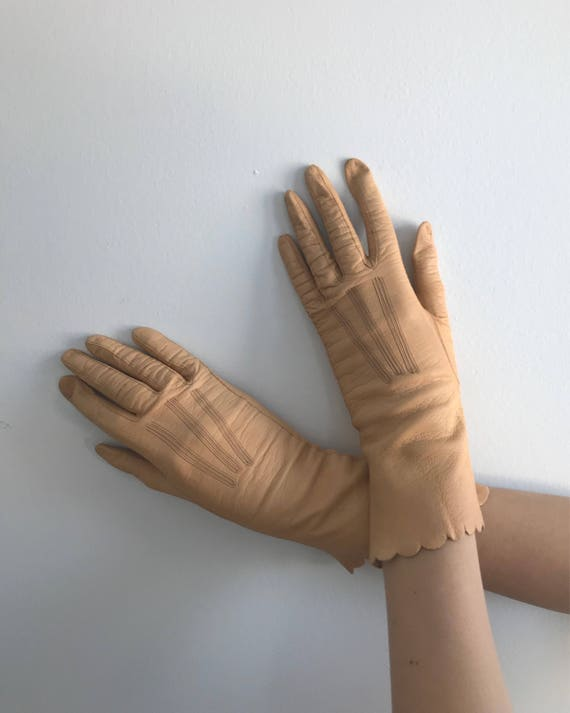 Vintage Leather Gloves, Ladies Leather Gloves, 195