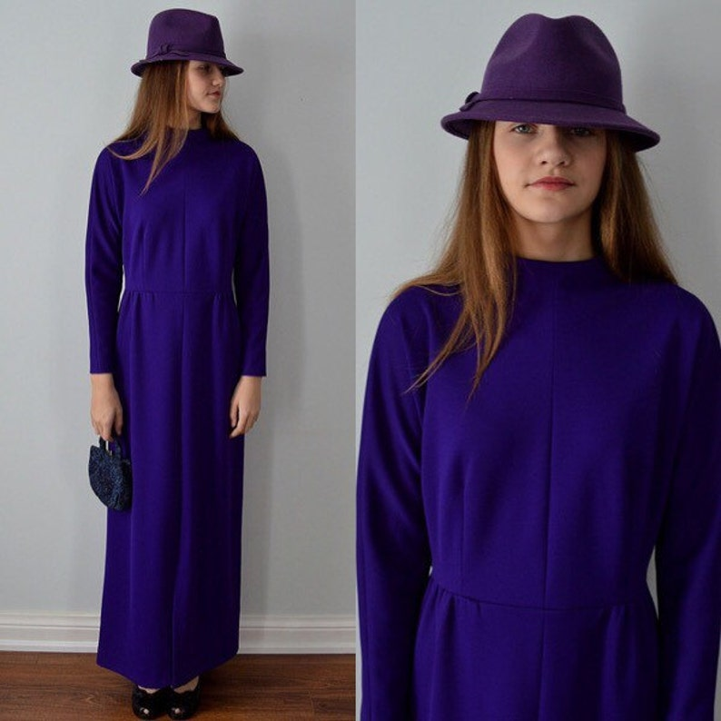 Vintage Maxi Dress Formal Dresses 1950s Gown Vintage Gown Leslie Fay Vintage Leslie Fay Original Dress Wedding Purple Evening Gown