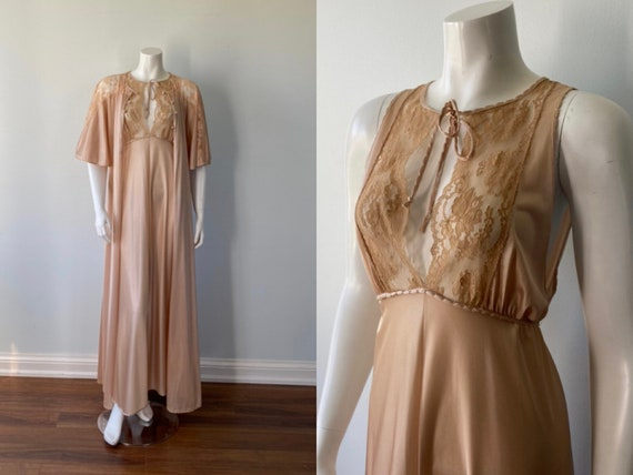 Janice Young for Vanessa, Rose Beige Peignoir Set,