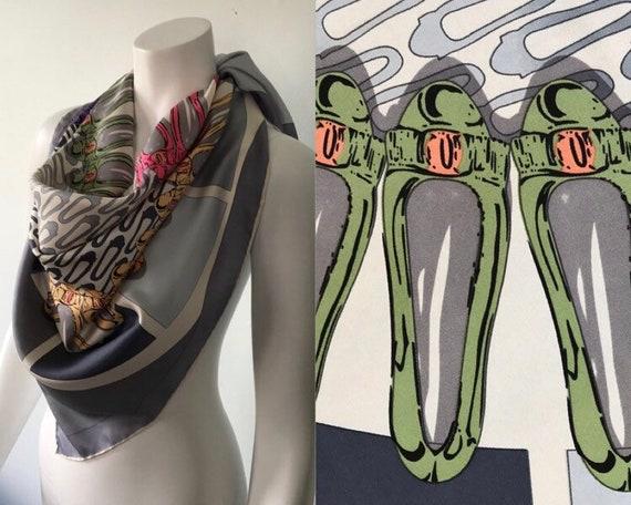 Salvatore Ferragamo Silk Scarf, Fashion Shoe Print