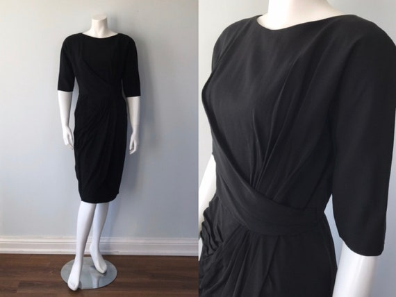 Vintage Dress, 1950s Black Cocktail Dress, Vintage
