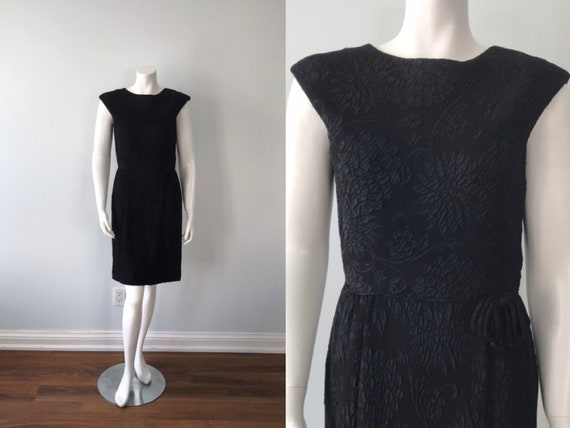 Vintage 1950s Black Cocktail Dress, 1950s Dress, B