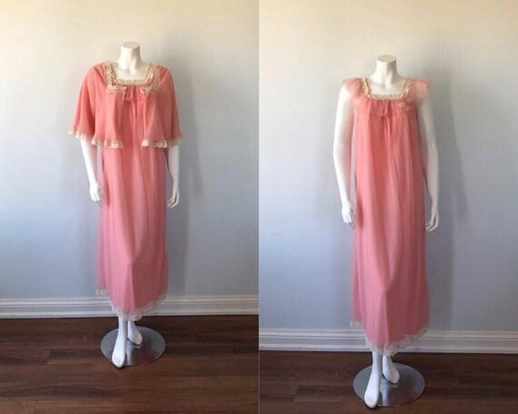 Rare 1960s Intime California Pink Rose Peignoir, I