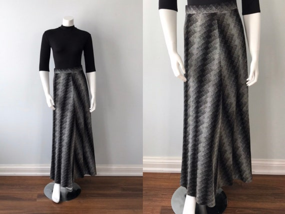 Vintage 1970s Maxi Skirt, Black and Silver Skirt,