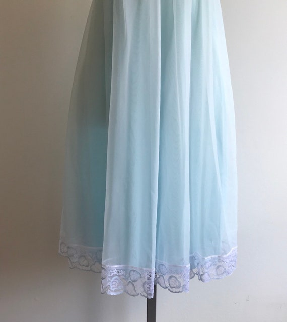 Vintage Pale Blue Chiffon Nightgown, French Maid.… - image 6