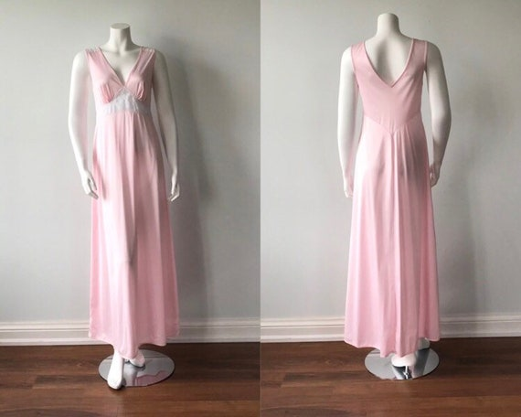 Vintage Pink Nightgown, 1970s Pink Nightgown, Vint