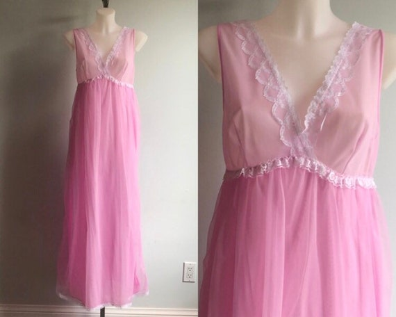 Vintage Chiffon Nightgown, 1960s Nightgown, Orchid