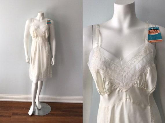 Vintage Ivory Full Slip, Lady Beth, 1950s Full Sli