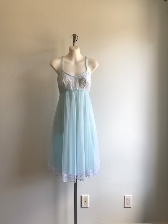 Vintage Pale Blue Chiffon Nightgown, French Maid.… - image 2