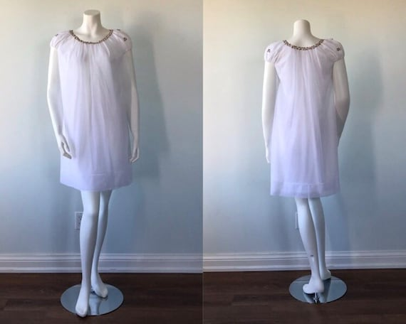 Vintage White Chiffon Nightgown, Chiffon Nightgown