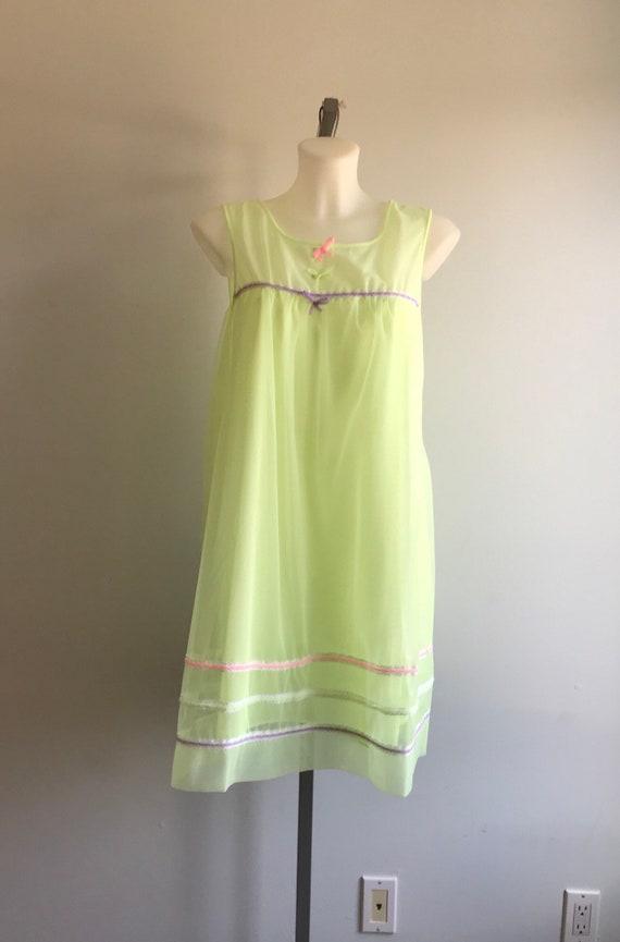Vintage 1960s Yellow Chiffon Nightgown, Dorsay, 1… - image 2
