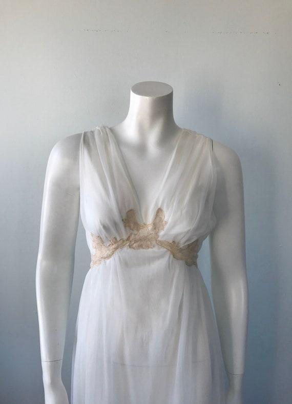Vintage Ivory Chiffon Nightgown, 1960s Chiffon Ni… - image 3