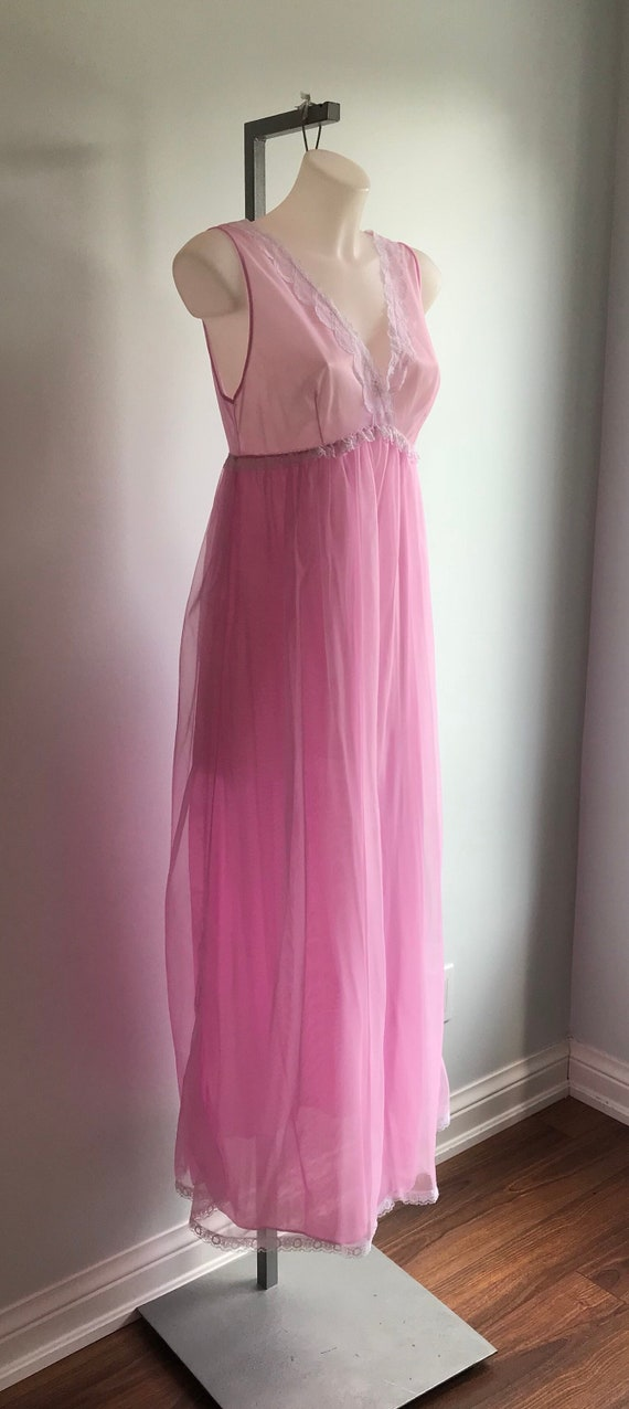 Vintage Chiffon Nightgown, 1960s Nightgown, Orchi… - image 4