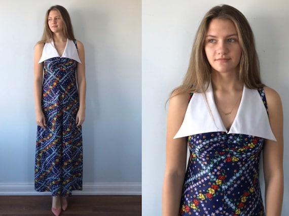 Vintage Floral Maxi Dress, 1970s Maxi Dress, Sleev