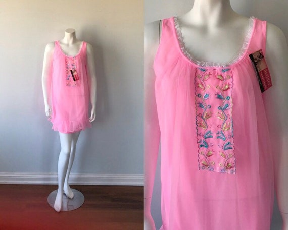 Vintage Pink Chiffon Nightgown, Hamilton Lingerie,