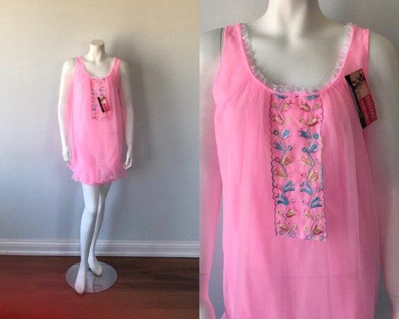 Vintage Pink Chiffon Nightgown, Hamilton Lingerie… - image 1