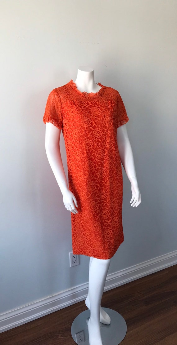 Vintage Orange Lace Dress, 1960s Lace Dress, Vint… - image 3