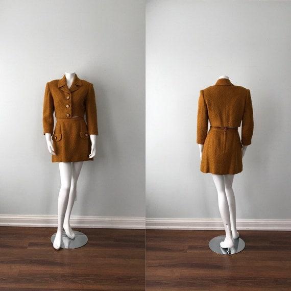 Vintage Mini Skirt and Cropped Jacket Set, Wool Sk
