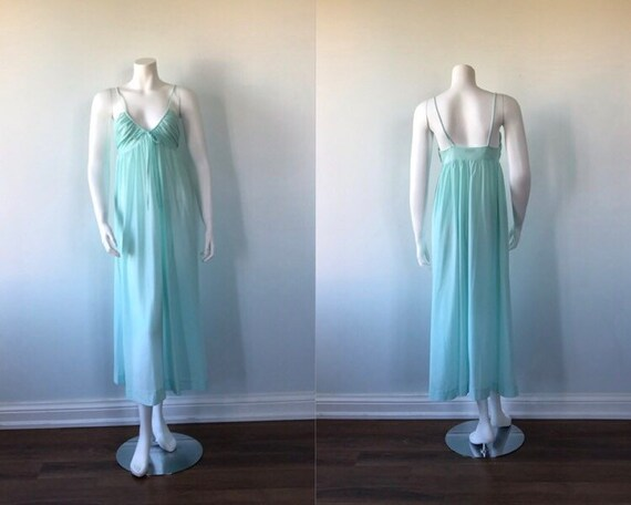 Vintage 1970s Mint Green Nightgown, Linda Lingerie