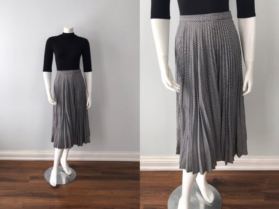 Vintage Pleated Skirt, Vintage Black and White Ple