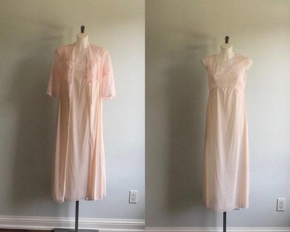 Vintage Pink Peignoir Set, Biconf, 1980s Peignoir