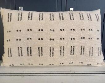 White And Black Mud Cloth Lumbar Pillow FREE SHIPPING!