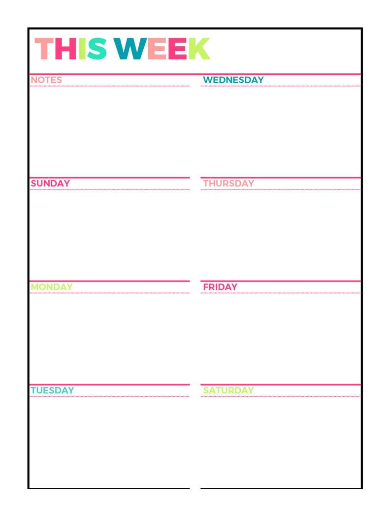 It's just an image of Inventive Weekly Organizer Printable