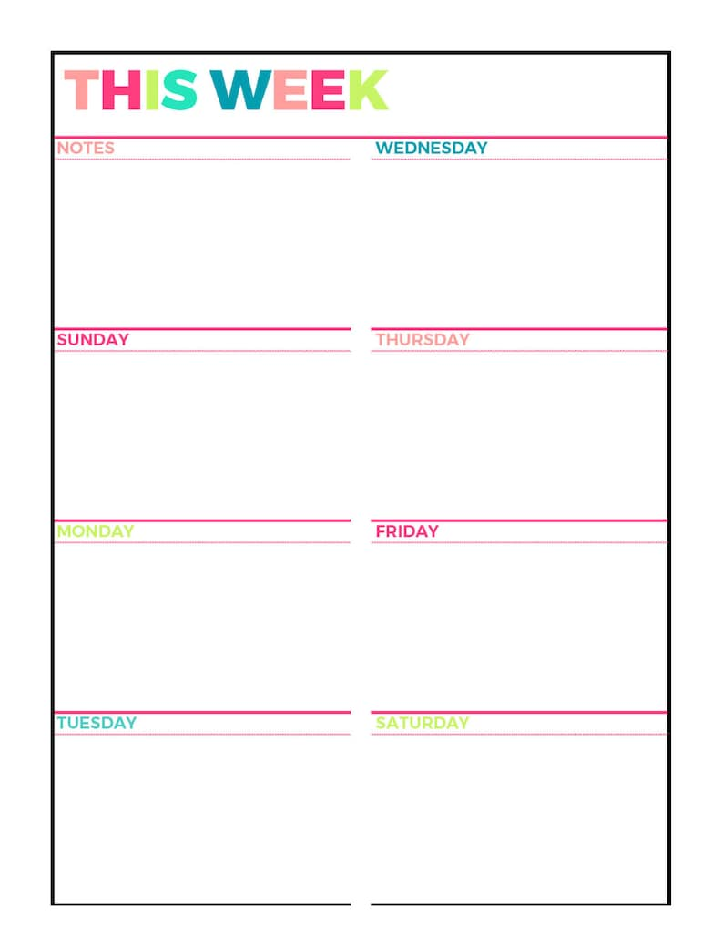 photograph regarding Weekly Agenda Printable named Vibrant Weekly Planner Printable, 7 days upon 1 Website page, Undated,Letter Dimension,Grid,Protected, Blank Design and style, Sunday and Monday 7 days Commence, Instantaneous Down load