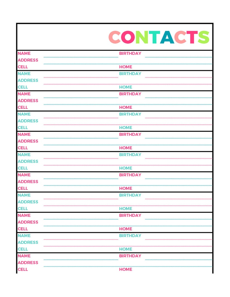 photo relating to Address Book Printable named Vivid Contacts Protect E-book Printable Site, Letter Sizing PDF, Household Binder, Planner, Quick Down load
